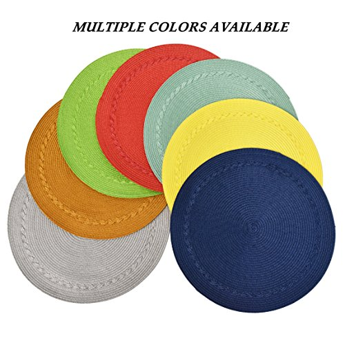Benson Mills Braided Edge Round Placemats (Set of 6), 15'', Navy by Benson Mills (Image #2)
