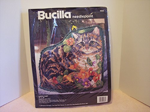 Bucilla Counted Cross Needlepoint Stitch Kit, Garden Tabby Kitty Cat Shaped