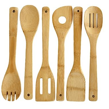 Premium 6 Piece Bamboo Cooking Utensils by Bamboo Style® . Eco-Friendly Kitchen Tools Made to Last