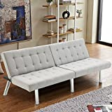Giantex Futon Sofa Bed Convertible Couch Folding Splitback Recliner Sleeper Lounger Modern PU Leather with Chrome Legs (Gray Linen)