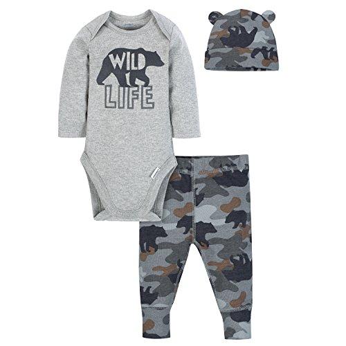 Gerber Baby Boys' 3-Piece Bodysuit, Pant and Cap Set, camo Bear 24 Months ()