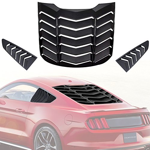 AVOMAR Matte Black ABS Rear Window Louvers and Quarter Side Window Scoop Louvers Fits for Ford Mustang 2015 2016 2017 2018 ()