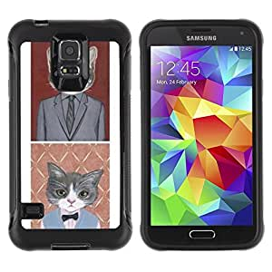 LASTONE PHONE CASE / Suave Silicona Caso Carcasa de Caucho Funda para Samsung Galaxy S5 SM-G900 / Business Cat Funny Cute Pop Art Suit