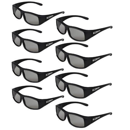 True Depth 3D® Circular Polarized Glasses for Passive Vizio 3D TVs (8 Pairs!)