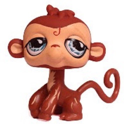 Monkey #485 (Brown, Blue Eyes, eyeliner, heavy lids) - Littlest Pet Shop (Retired) Collector Toy - LPS Collectible Replacement Single Figure - Loose (OOP Out of Package & Print) (Monkey Eyes Big)