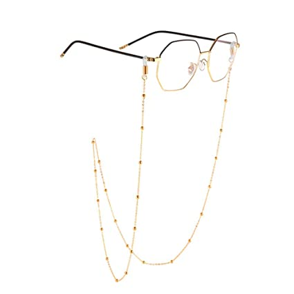 ac374a2808f9 Bangxiu Eyeglass Chains Holders Spectacle Cord Chains For Women Beads  Reading Glasses Neck Cord Sunglasses Strap Holder (Color   Gold)   Amazon.co.uk  ...