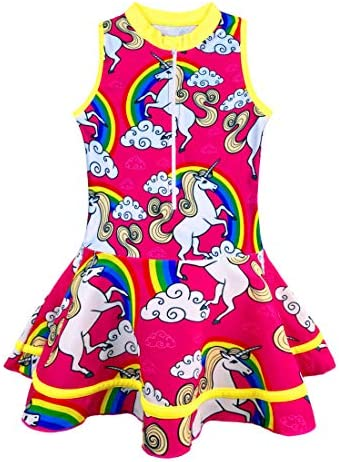 KuKiee Little Girls One Piece Athletic Swimsuits Rash Guard Solid Bathing Suits