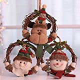 YOUSHEN Christmas Decorations Small Old Man Snowman Hoop Hang Wreaths Hoop Christmas Tree Christmas Decorations Window Accessories