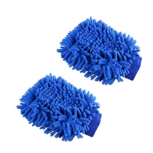GracePainter 2Pcs Chenille Microfiber Premium Scratch-Free Wash Mitt,Car Wash Mitts,Premium Microfiber Super Absorbent Wash and Wax Glove for Car Cleaning Scratch-Free Not Fall Wool ()