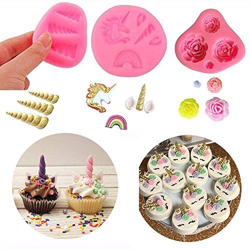Mini Unicorn Mold Unicorn Horn Ears Flower and Rainbow Cupcake Topper Fondant Chocolate Mold( Set of 3) by A&J (Mold Chocolate Set)