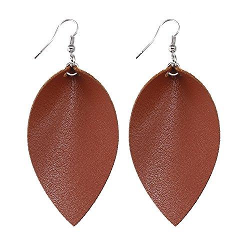 Leather Dangle (TIDOO Jewelry Women Leaf Leather Dangle Earrings (2# Coffee))