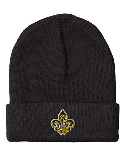 Fleur De Lis Applique Embroidered Unisex Adult Acrylic Beanie Winter Hat - Black, One Size