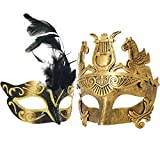 Couple Masquerade Venetian Luxury Face Mask | Women Gold Feather & Men Greek Roman Gladiator | Party, Fancy Ball, Prom, Mardi Gras, Wedding, Wall Decoration (Gold Feather)