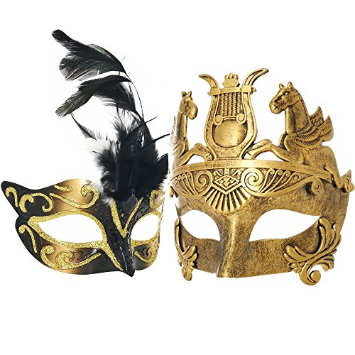 Couple Masquerade Venetian Luxury Face Mask | Women Gold Feather & Men Greek Roman Gladiator | Party, Fancy Ball, Prom, Mardi Gras, Wedding, Wall Decoration (Gold Feather) ()