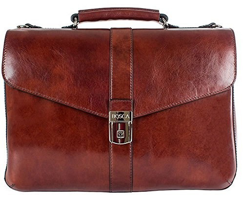 Bosca Men's Flapover Brief Dark Brown Briefcase