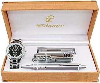 Estuche regalo para hombre con reloj + bolígrafo + navaja + linterna: Amazon.es: Relojes