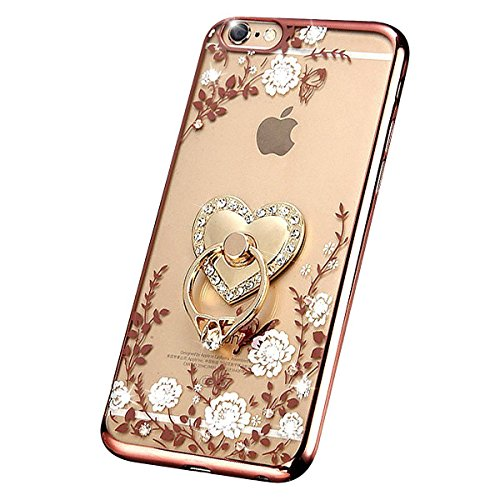 iPhone 7 Floral Crystal TPU Case--Inspirationc Soft Slim Bling Plating Rubber Cover for iPhone 7 4.7 Inch with Rhinestone Diamond and Detachable 360 Ring Stand-Rose Gold and (Diamond Tpu Rubber Case)