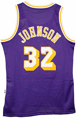 Adidas Lakers Jersey (adidas Magic Johnson Los Angeles Lakers Purple Throwback Swingman Jersey Large)