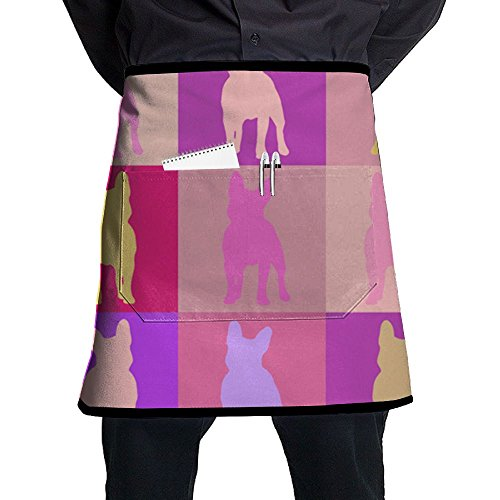 Quarters French Bulldog Mosaic Waitress Lace Adult Half Black Kitchen Waiter Aprons Bib For Mens Womens With - Quarter French Clothing