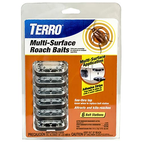Terro T500 Multi Surf Roach Killer-6 Bait Stations, 1 Pack, Black