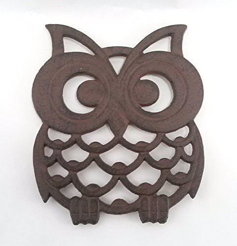 Aunt Chris' Products - Cast Iron Owl Trivet - With A Vintage Design - Durable Heavy Cast Iron - With Shabby-Chic Distressing, And A Gorgeous Color - Primitive Dark Rustic Bronze