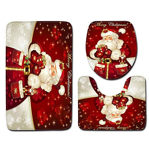 Walmeck 3Pcs/Set Home Bathroom Rug Christmas Decor Santa Claus Printed Non-Slip Floor Mat Bath Mat + Pedestal Rug + Lid Toilet Cover Bathroom Rug Set