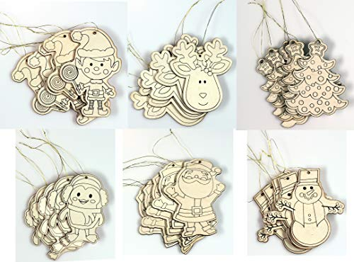 Creative Hobbies Kid Friendly DIY Holiday Christmas Themed Ornaments -Decorate Your Own - Contains 30 Ornaments Ready to Color or Paint]()