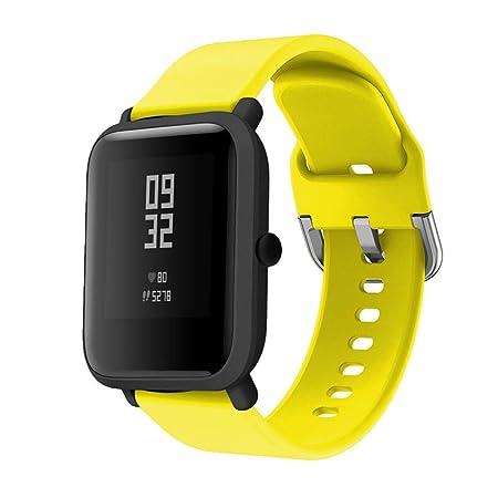Saisiyiky Correa Pulsera Compatible con AMAZFIT Bip Xiaomi Huami Banda de Silicona/Ajustable para Smartwatch Reemplazo de Correa (Amarillo)