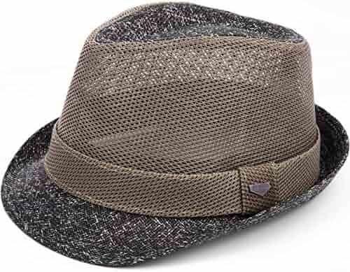 9b8ba297a5e44 Erigaray Classic Fedora Straw Hat for Mens Summer Short Brim Beach Sun Hat  Jazz Cap