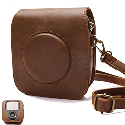 For Fujifilm Instax Square SQ10 Camera, Classic Vintage PU Leather Compact Case Bag with Adjustable Shoulder Strap to protect Fuji instax SQ10 Camera by HelloHelio-Brown