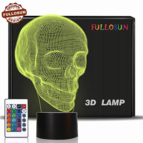 Skull 3D Lamp Optical Illusion Night Light, Death Model Birthday Gift Idea for Fan Xmas Valentine's Day Football Gift, Kids Boy Room Night Light with Remote Control 16 Colors - Illusion Skull
