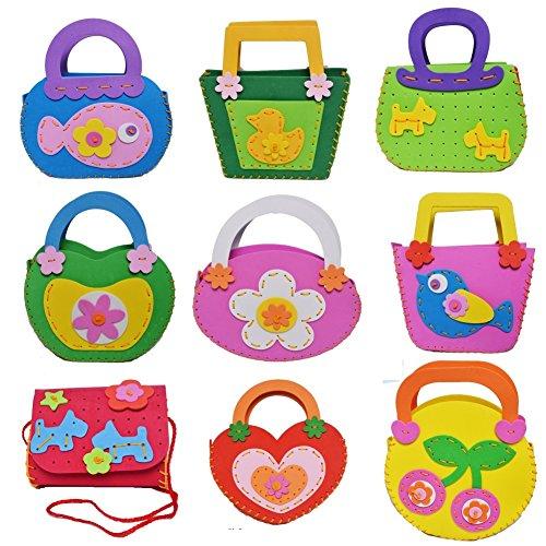 Sewing Kit for Kids for Beginners 3Pack Assorted Random Designs Children Lovely Handbag Sewing Pattern Bag by MeMo (Bag Starter Kit)
