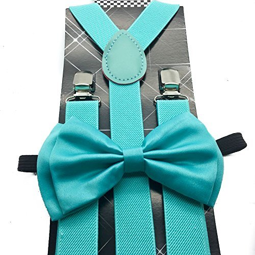Awesome Teal Mint Blue Wedding Accessories Adjustable Bow Tie /& Suspenders
