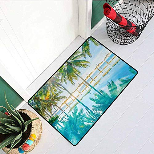 - GloriaJohnson Landscape Welcome Door mat Pool by The Beach with Lights Seasonal Eden Hot Sunny Humid Coastal Bay Photo Door mat is odorless and Durable W31.5 x L47.2 Inch Green Blue