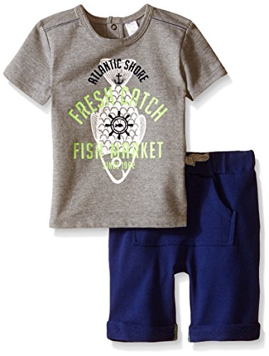 Petit Lem Baby Boys' 2 Piece Set Sleeve Top and Short Fishy, Grey Mix, 6 Months ()