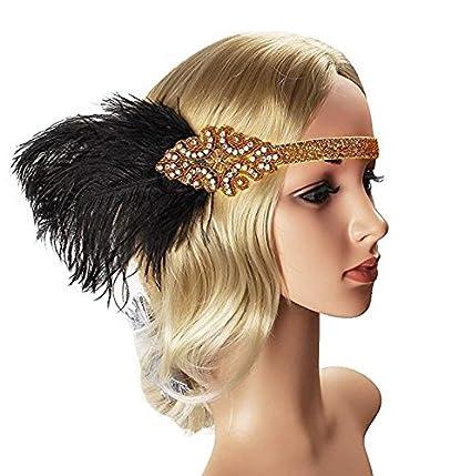 Halskette Beelittle 1922er Jahre Zubeh/ör Set Flapper Stirnband Handschuhe Zigarettenspitze Great Gatsby Zubeh/ör f/ür Frauen