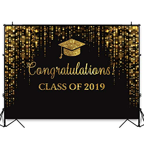 Funnytree 7x5ft Graduation Party Backdrop Class of 2019 Black and Golden Glitter Bokeh Spots Photography Background Congrats Grad Prom Gold Dots Decorations Photo Studio Booth Props Cake Table Banner