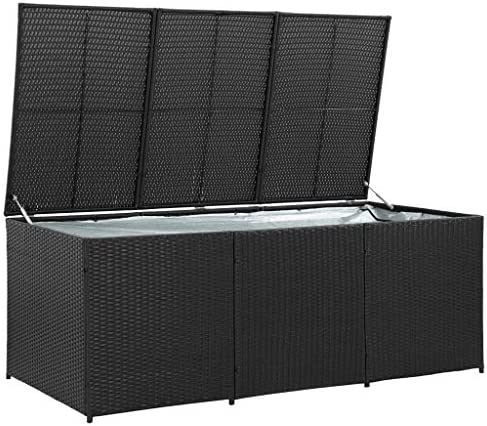 Tidyard Caja de almacenaje de jardín ratán sintético Negro Antihumedad y con Patas 180x90x75 cm: Amazon.es: Hogar