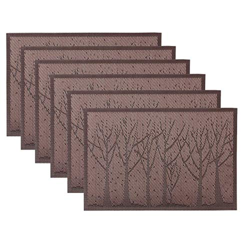 WarmHut Placemats, Fall Tree Woven Vinyl PVC Place Mats Dining Table Heat Insulation Stain Resistant Table Mat Protector Anti-skidding, Set of 6 Pcs