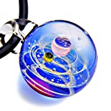 Kino Unique Handmade Lamp Work Glass Ball Galaxy Planet Pendant Necklace Charm Fashion Jewelery Gift for her/him