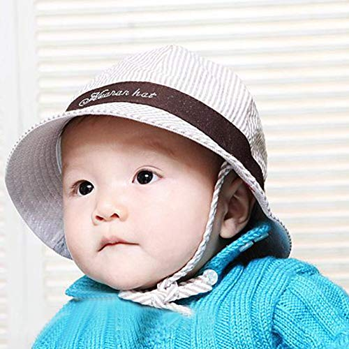 bd807fcc Millya Infant Baby Unisex Solid Brim Stripe Sun Protection Hat 100% Cotton  (Light Brown-Brim): Amazon.co.uk: Baby