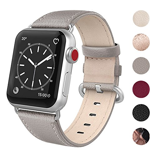 SWEES Leather Band Compatible for Apple Watch 38mm 40mm, Genuine Leather Soft Elegant Replacement Strap Compatible iWatch Series 4, Series 3, Series 2, Series 1, Sports & Edition Women, Gray