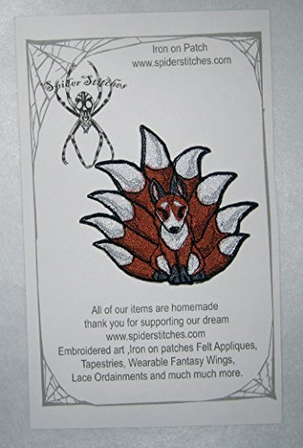 Natural Red Kitsune Fox Patch Iron on Patch -