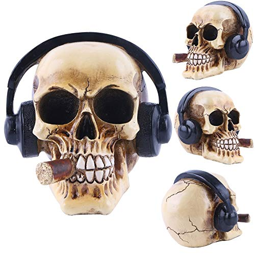 (Inveroo Statues Africa Home Decor Skull for Decoration Resin Human Animal Skull Cigar Headphones Skeleton Abstract Sculpture Art)