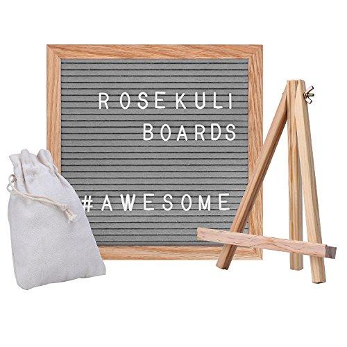 Rose Kuli Changeable Felt Letter Board - 10x10 inch Wooden Message Board Sign, Solid Oak Frame, Wooden Stand, Scissor, Canvas Bag by Rose Kuli