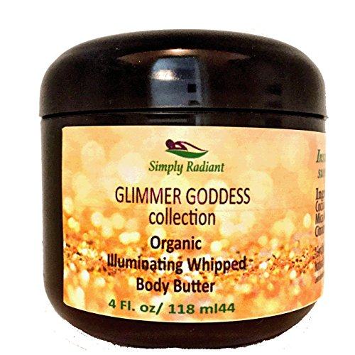 - Organic Gold Shimmer Whipped Body Butter - Super Sparkle For Natural Skin Radiance - Chemical Free Shimmering Moisturizer - Glimmer Goddess