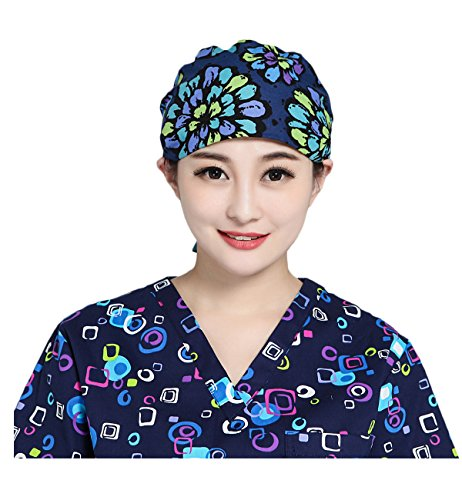 2 Womens Scrub Cap,Adjustable Beanie Cap 100% Cotton Sweatband Bouffant Hat