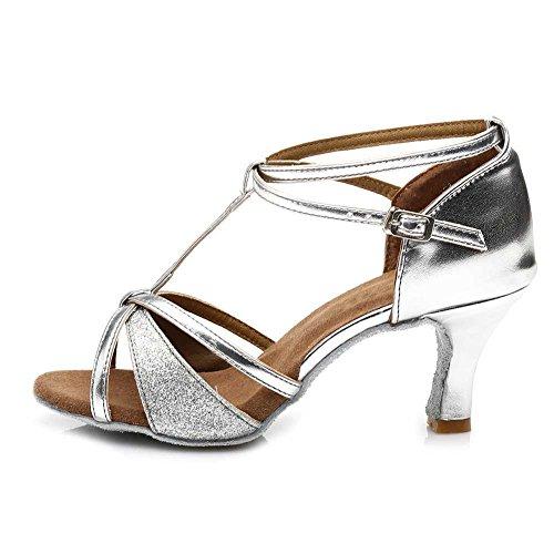 Pailletten Schuhe Damen Tanzschuhe Tanzschuhe Ballsaal Standard DE255 Silber Latein HIPPOSEUS Dance 7cm xYt1aq