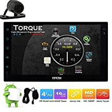 "Free Backup Camera Android 6.0 Multifunctional Car Stereo Head Unit External MIC Bluetooth Double Din Car GPS Navigation Aftermarket Radio for Universal with 7"" Full Capacitive Touch Screen"