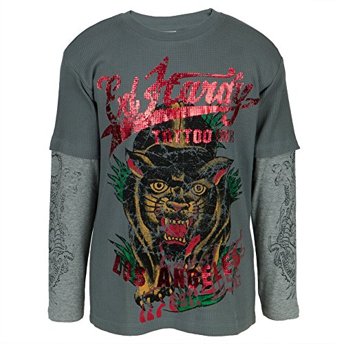 Ed Hardy - Panther In Grass Youth 2fer Long Sleeve T-Shirt - Youth (Ed Hardy Boys Rock)
